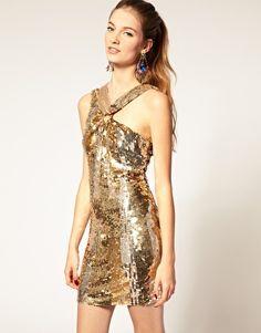 82209c2c86b24 ASOS Sequin Dress with Knot Twist Asos Sequin Dress, Gold Party Dress, Party  Dresses