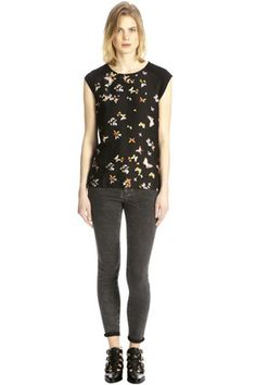Warehouse BRIGHT BUTTERFLY PRINT TOP (Black) - And Other Brands - Tarazz