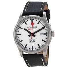 Mondaine Retro Day Date White Dial Black Leather Men's Watch A6673030816SBB