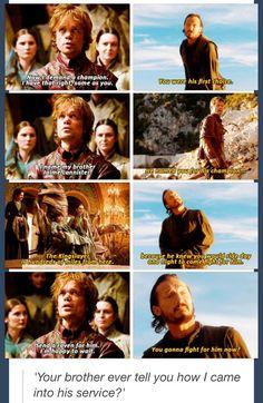 Peter Dinklage as Tyrion Lannister, Jerome Flynn as Bronn and Nikolaj Coster-Waldau as Jaime Lannister