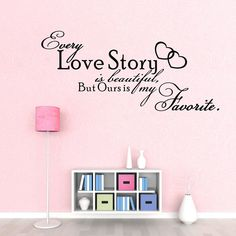 wall sticker bedroom decoration on sale at reasonable prices, buy Bedroom Vinyl Wall Decals Every Love Story is Beautiful QUOTE Wall Stickers Bedroom Decor from mobile site on Aliexpress Now! Diy Wand, Jessica Hische, Wall Stickers Murals, Vinyl Wall Decals, Vinyl Decor, Stencil Painting On Walls, Personalized Wall Art, Wall Art Quotes, Quote Wall