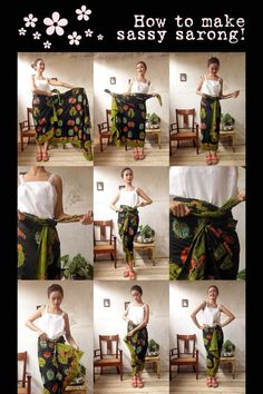 Batik Amarillis Made in Indonesia How to wear sassy sarong!From the collection: My Closet on Clozette IndonesiaTie a sarong Kebaya Hijab, Batik Kebaya, Kebaya Dress, Batik Dress, Blouse Batik, Batik Fashion, Hijab Fashion, Diy Fashion, Model Rok
