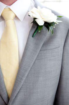 Gray and yellow groom attire
