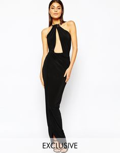 Image 1 ofClub L Fishtail Maxi Dress With Metal Necklace