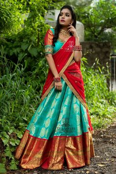 "Teja Sarees recently launched their beautiful wedding bridal lehenga collection ""Sampradaya"". Hand embroidered blouse designs get your look right highlighting the back and neckline. Lehenga Saree Design, Half Saree Lehenga, Lehnga Dress, Bridal Lehenga Choli, Lehenga Designs, Saree Blouse Designs, Saree Wedding, Banarasi Lehenga, Sari"