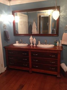 Found This Old Buffet On Craigslistturned It Into Our New - Diy double sink vanity