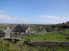 Ruins of SEVEN CHURCHES and cemetery on Inishmore.  Ancient site of two churches and a graveyard--name comes from other buildings on the site that most likely housed the monks.  Church seen here from around 1200.