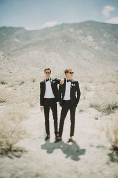"""We wanted our wedding feel cool and classic, but not too fancy or serious. And let's face it: we're two grooms, so we did not want anything pretty or floral or feminine. We went for an ""Old Hollywood"" theme in black and white, which suited our Palm Springs backdrop perfectly."" 
