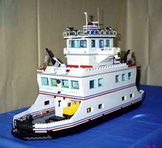 LEGO car ferry model holds 16 lego cars and trucks, has loads of interior details