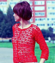 Crochet pattern / cotton jacket / crochet  sweater/ Hand knit jacket for stylish women/ Lace crochet sweater  for women.   Oversize model.  You can orders this wonderful sweater any color. When ordering, you can choose the size you wantКупить Жакет вязаный Ажурный вязаный жакет Кружево крючком хлопок - жакет красный