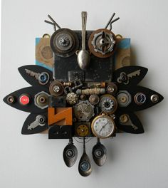 """""""Metal Owl""""-Recycled art collage  jen-hardwick.com  Photo published in """"Mollie Makes Feathered Friends"""" (Collins & Brown) 2013."""