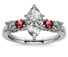 Marquise Round Diamond & Ruby Gemstone Engagement Ring in White Gold  http://www.brilliance.com/engagement-rings/round-diamond-ruby-gemstone-ring-white-gold
