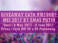 Giveaway CASH RM1000  Mei 2017 by Emas Putih