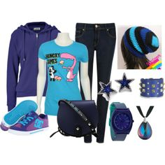 purple blue outfit