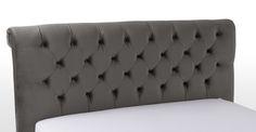 Orkney Doppelbett (160 x 200 cm), Samtgrau ► Neues Design für dein Schlafzimmer! Entdecke jetzt dein Traumbett bei MADE.