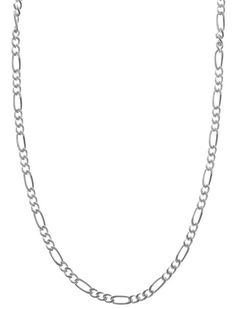 Figaro Chain Link Necklace Sterling Silver Italian 1.7mm 4 Gauge 24 inch Hypoallergenic. TARNISH RESISTANT: 925 Sterling Silver. SECURE: Spring-Ring Clasp Closure. Sensitive Skin? HYPOALLERGENIC: No rashes or breakouts. Lead and Nickel Free. HALLMARKED 925 & Italy for Authenticity. Buy with CONFIDENCE: Your order is protected. Each product is insured. Satisfaction Guaranteed.