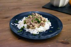 My recipe of Beef Stroganoff: a warm stew made of beef, mushrooms, onions, sour cream and beef stock, that goes perfect of rice, mash or pasta. Beef Stroganoff With Rice, My Recipes, Beef Recipes, Beef Strips, Sour Cream, Stew, Risotto, Nom Nom