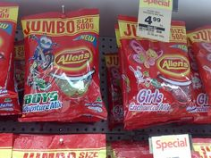 Pointlessly gendered products: Candy mixes for boys and girls (click through for more)