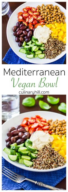 This Mediterranean Vegan Bowl is full of colorful veggies and nutritious grains and legumes, a power lunch for even the hungriest carnivores.