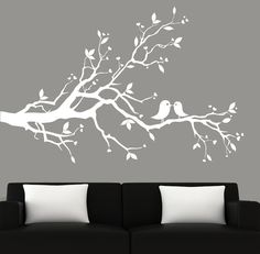 Modern white tree branch decal with birds vinyl by couturedecals, $69.00