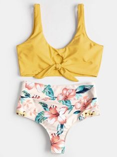 SHARE & Get it FREE | Knotted Floral Scrunch Butt Bikini Set - Rubber Ducky Yellow LFor Fashion Lovers only:80,000+ Items • New Arrivals Daily Join Zaful: Get YOUR $50 NOW!