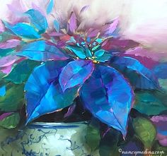 Painted Ladies Blue Poinsettias - Nancy Medina Art Videos and Classes, painting by artist Nancy Medina