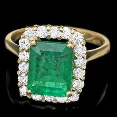 18k Gold 2.80ct Emerald 0.70ct Diamond Ring : Lot 162C