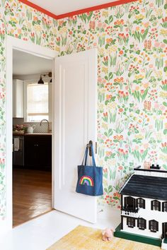 Playroom design with bold floral wallpaper and red painted trim. So cute #playroom via Coco Kelley Playroom Wallpaper, Interior Wallpaper, Bathroom Wallpaper, Wallpaper Ideas, Little Girl Rooms, Dining Room Design, Autumn Home, House Tours, Playroom Design