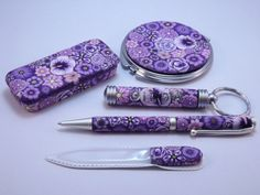 https://flic.kr/p/rBRwFW   Purple Millefiori Floral Gifts   My Mom is a total purple lover.  I am giving her these gifts for her Birthday which is on Mother's Day this year.  I think she'll probably like them :)