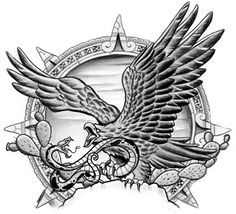 Mexican Eagle and Snake Tattoo Design
