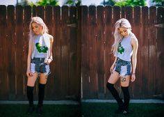 O Mighty Care For A Weed Bear Top, Lonely Clothing Co. Distressed Grey Denim Short, Tba Boots - Eugenie G.