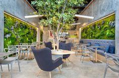 Bar: enormous living green walls of lichen and moss line refreshing Panama Fusion restaurant Interior Rugs, Patio Interior, Cafe Interior, Interior Design, Bar Design, Design Studio, Panama City Restaurants, Le Hangar, Restaurant Furniture