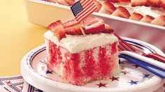 Red, white and beautiful! A simple cake-mix cake becomes the hit of your Fourth of July gathering with just a few easy additions.