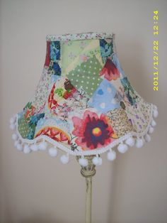 DIY Patchwork Lampshade Using Fabric Scraps & Mod Podge.