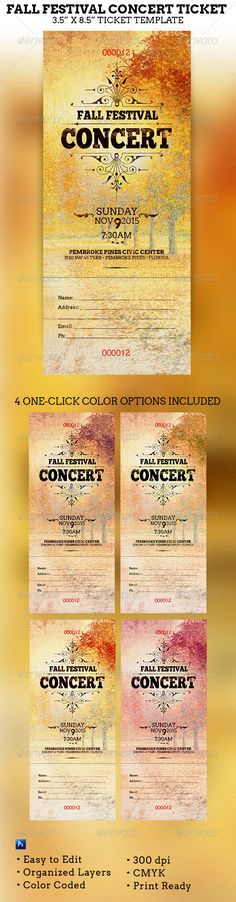 Buy Fall Festival Concert Ticket Template by on GraphicRiver. Fall Festival Concert Ticket Template is great for any Fall Festival event or events during the autumn season. Golden Ticket Template, Concert Ticket Template, Concert Tickets, Flyer Template, Stencil Templates, Print Templates, Ticket Printing, Ticket Design, Festival Flyer