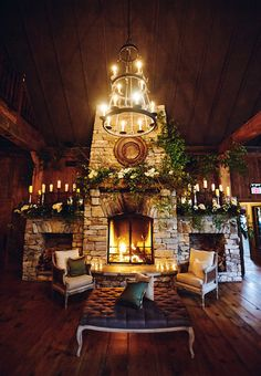 Brides: A Glamorous Barn Wedding at Old Edwards Inn in Highlands, NC = fireplace is necessary Cabin Wedding, Farm Wedding, Wedding Tips, Wedding Events, Wedding Styles, Wedding Day, Wedding Ceremony, Wedding Hacks, Tent Wedding