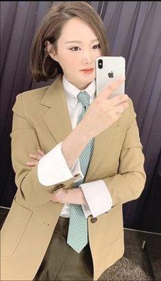 Suits For Women, Women Wear, Neckties, Dress Shirts, Asian Woman, White Dress, Blazer, Lady, Womens Fashion
