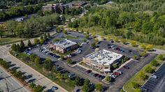 Drone photo from the DJI Inspire 1 Pro of Longhorn Steakhouse and Wasabi on Rockside Rd. in Independence Ohio.  www.gunnphotoservices.com