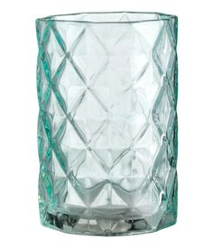 Türkis. Zahnputzglas mit Reliefmuster. Durchmesser 7 cm, Höhe 11 cm.