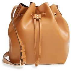 Women's Sole Society 'Nevin' Faux Leather Drawstring Bucket Bag ($26) ❤ liked on Polyvore featuring bags, handbags, shoulder bags, bolsas, purses, accessories, cognac, bucket bags, hand bags and purse shoulder bag