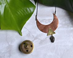 Highland Garnet Moon - Copper and Brass Necklace
