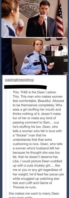 Sure. Jensen was trying to get the actress to start laughing, but this is cute.