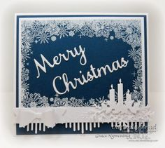 Our Daily Bread Designs Stamp set: Snowflake Border Background, Our Daily Bread Designs Custom Dies Windowsill Candles Dies, Merry Christmas, Small Bow, Beautiful Borders