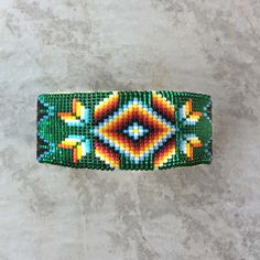 Native American Cuff Bracelet, Beaded Navajo Cuff Bracelet by AndTheCrow
