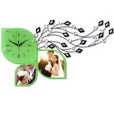 Kúpiť Spálňa dekor tichý nástenné hodiny s list v tvare Dial a fotorámčeky 2-farebná + Doprava zadarmo