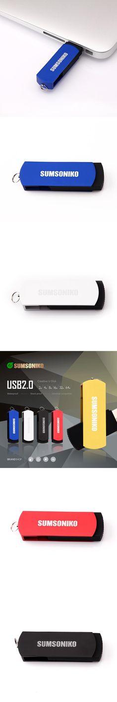 SUMSONIKO USB Flash Drive Swivel Clip Pen Drive High Speed USB 2.0 Flash Memory Stick 64GB 32GB 16GB 8GB 4GB 2GB 1GB Can Track