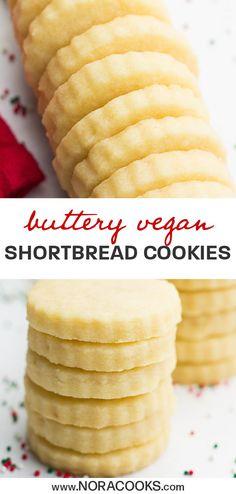 foods and desserts Vegan Shortbread Cookies - Nora Cooks Healthy Vegan Dessert, Vegan Treats, Vegan Foods, Healthy Dessert Recipes, Vegan Snacks, Vegan Dishes, Healthy Vegan Cookies, Vegetarian Sweets, Best Vegan Desserts
