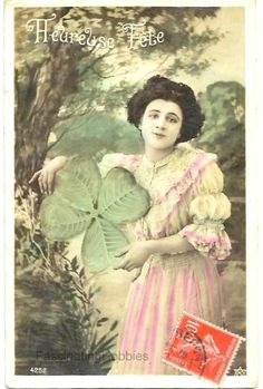 1906  WOMAN with LUCKY SHAMROCK Landscape  by FascinatingHobbies