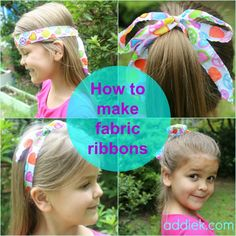 Make fabric hair ribbons - sew or no sew! By Addie of addiek.com for sewmccool.com.