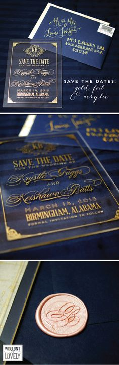 Custom Acrylic and gold foil letterpress wedding save the dates! Navy gold and blush wedding invites, custom designed wedding invitations, Wouldn't it be Lovely